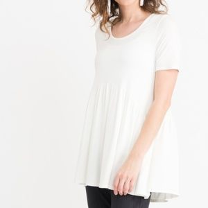 Agnes & Dora L Solid Ivory Muse Tunic Tee Top New